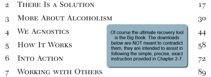Of course the ultimate recovery tool is the Big Book. The downloads below are NOT meant to contradict them, they are intended to assist in following the simple, precise, exact instruction provided in Chapter 2-7.